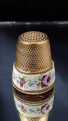 Vintage Petit Point Thimble Rose Flower Needlepoint Gold Brass? Floral Design