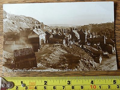 Real Photo Vintage Sepia Postcard Haggerlyth And Kippering Houses Whitby Judges