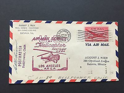 1948 US Cover Helicopter Service, Signed by Postmaster