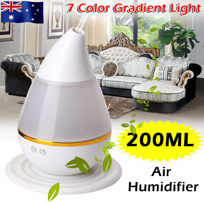 7 Color 15W LED 200ml Ultrasonic Air Humidifier Purifier Aroma Diffuser Purifier