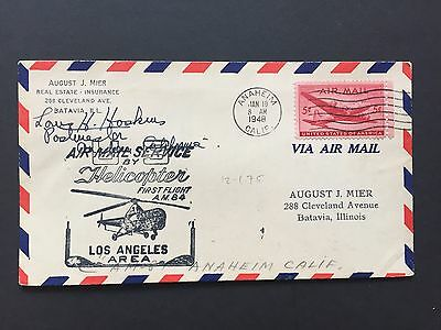 1948 US Cover with Helicopter Air Mail Service, signed by postmaster