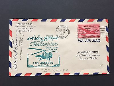 1948 US Cover with Air Mail Service by Helicopter, Signed by Postmaster