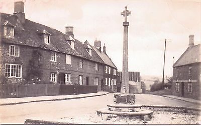 Real Photograph  Postcard -  Unknown Village and Village Cross Memorial