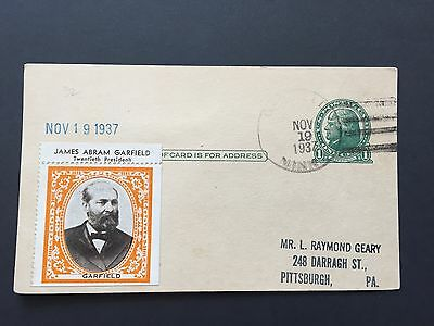 1937 US Postal Card with extra stamp