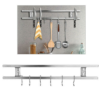 "OUNONA Pro Knife Rack Magnetic Utensil Holder 16"" Stainless Steel With 6 Hooks"