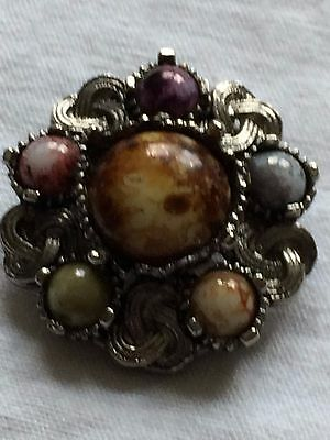 """Lovely Celtic Shawl / Scarf Clip Inset With Agate Stones Approx 1.5"""" Diameter"""
