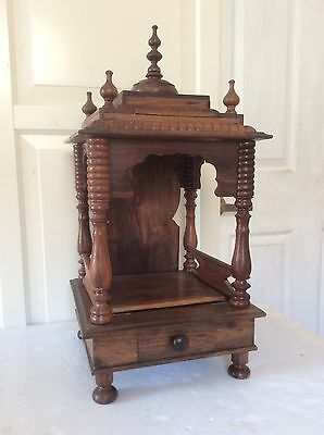 """Antique Original Hand Carved Fine Art Wooden Worship Temple, 21 1/2"""" Tall"""