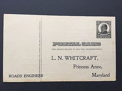 1908 US Postal Card road engineer employment hours