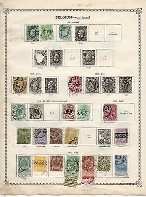 Belgium 1869-1915 Collection On Old Album Pages - 6 Sides - Mint & Used