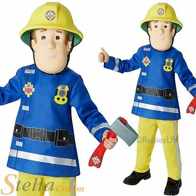 Boys Deluxe Fireman Sam Costume Firefighter Book Week Fancy Dress Child Outfit