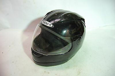 Zeus Flip Up Modular Full Face Black Motorcycle Helmet, Size L