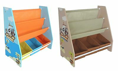 Kiddi Style Pirate Childrens Kids Sling Bookshelf Rack Toy Chests Storage  Bins