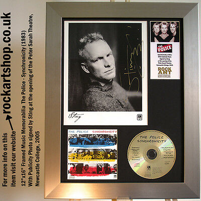 The Police PUBLICITY PHOTO *SIGNED BY STING NEWCASTLE 2005* Synchronicity Framed