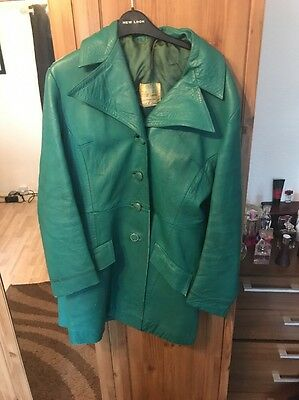 Devonshire Lady Green Teal Size 14 Nappa Leather Coat