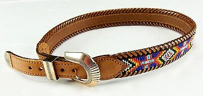 LL Bean Beaded Leather Belt Dated 1991 Brown R619 Size 28