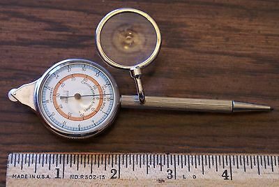 Vintage Hofritz Germany Opisometer, Magnifying Glass, Compass Pencil Kilos Miles