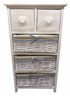 New Shabby Chic 4 Tier Bedside Unit Table Maize Basket Storage Bathroom Bedroom