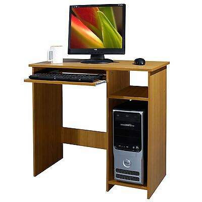 Wooden Computer Desk Basic Home Office Table Workstation Beech Wood Pc Laptop