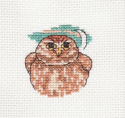 Completed cross stitch- owl- ideal for a card