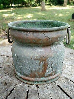 Antique Copper Vessel Pot Primitive Hand Hammered years of Patina 0023 Stamped