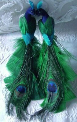 2 Peacock Green Blue Teal Glitter Dusted Feather Tree Wedding Christmas Ornament