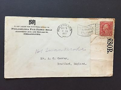 1917 US WW1 Cover Opened by Censor