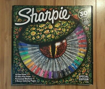 NEW!  30 Count Sharpie Permanent Markers Special Edition Gift Coloring Book Set