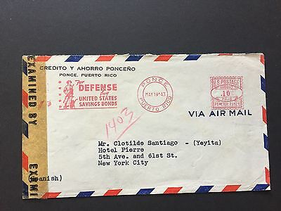 1943 US WW2 Cover Opened by Examiner