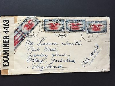 1941 US WW2 Cover to England - Opened by Censor