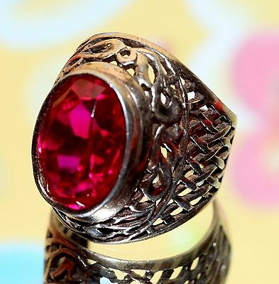 ROYAL BEAUTY Vintage USSR Silver Gold plated Ruby stone ring Size 5.5 -