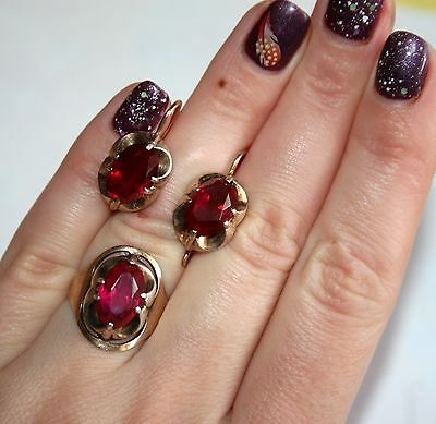 LARGE RUBIES Vintage EARRINGS RING SET Silver 875 Gold Plated USSR Antique!