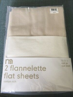 2x Flannelette Flat Sheets (cot/cot bed)