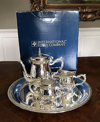International Silver Co Silverplated Prince William Child's 4 Piece Coffee Set