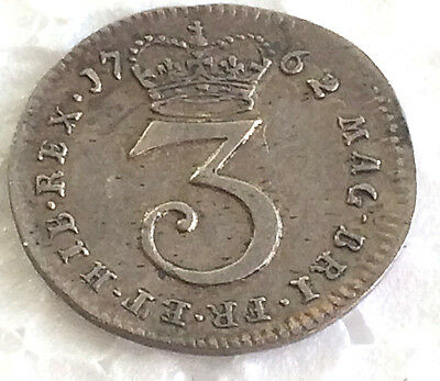 1762 three  pence .925 Sterling Silver  #94