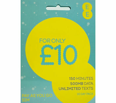 EE 4G Pay As You Go Triple Sim Card £10 Everything Pack, 150min,500mb,unli Text