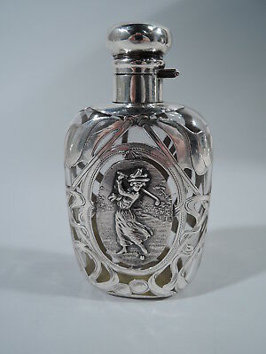 Antique Flask - Swinging Lady Golfer Golferess - American Glass & Silver Overlay