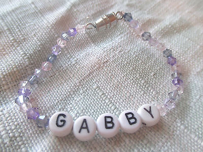 "5 1/2"" PERSONALIZED BEADED NAME BRACELET WITH THE NAME Gabby-Handmade-New-purple"