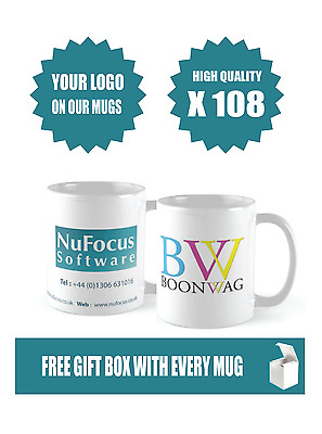 108 x Quality Promotional Mugs, We Print your logo, Business advertising,