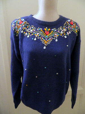 Maglione blu decorato pietre anni '80 vtg  encrusted sweater jumper