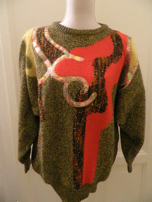 Maglione patchwork vintage anni '80 vtg colored disco sweater jumper IT44 EU40