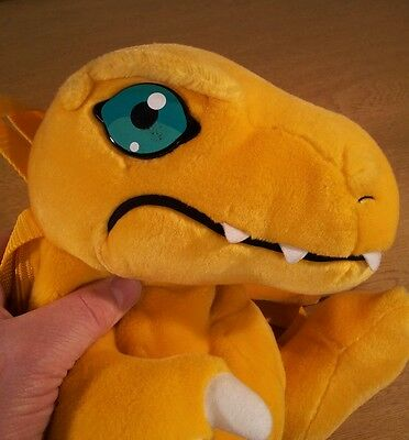 Agumon Digimon Official Golden Bear Products Backpack Bag Plush Yr 2000 RARE VGC