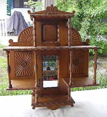 Victorian Tiger Oak Mirrored Candle Curio Shelf Aesthetic Gingerbread Style