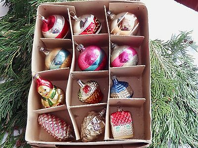 12 Vintage Mercury Glass Santa Pine Cone Ball Christmas Tree Baubles Decorations