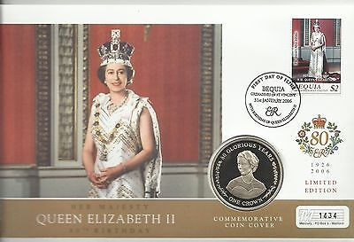 BEQUIA QE11 2006 80th BIRTHDAY SILVER JUBILEE ONE CROWN COIN  FDC MINT