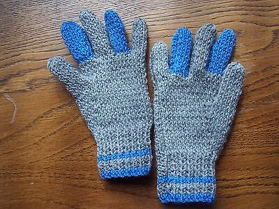 New hand Knitted Boy's Grey & Blue Gloves in DK Wool  Age: 3/5yrs
