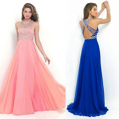 Women Long Chiffon Wedding Formal Evening Party Bridesmaid Ball Gown Prom Dress