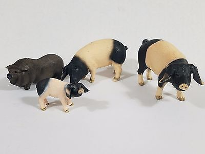 Schleich Lof of 3 swabian and 1 pot bellied pig piglet Farm animal Free shipping