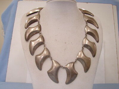Taxco Mexican Silver Necklace Heavy Chunky Statement Over 92 Grams