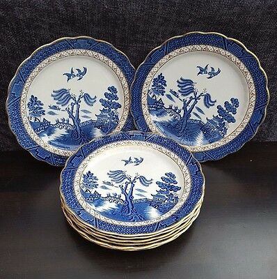 Booths Real Old Willow A8025 Gilt-Edged -8 x  Dinner Plates
