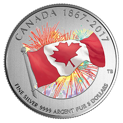 PROUDLY CANADIAN - GLOW IN THE DARK - 2017 $5 1/4 oz Fine Silver Coin - RCM